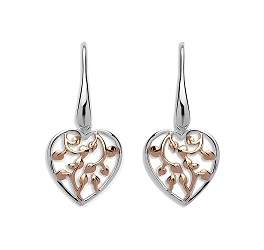 69042 - Tree of Life Heart Drop Earrings in Sterling Silver