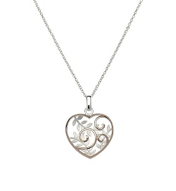 69043 - Heart scrolled Pendant in Sterling Silver