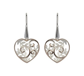 69044 - Heart Drop Earrings in Sterling Silver