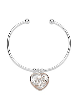 69046 - Sterling Silver Torq Bangle with charm