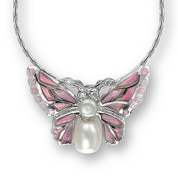 69047 - Diamond set Butterfly pendant in Sterling Silver