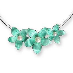 69056 - Silver Stephanotis Necklace with Turquoise Enamel & set with Freshwater Cultured Pearls