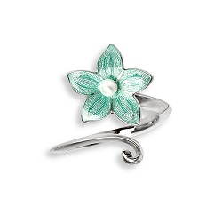69059 - Green enamel Stephanotis Ring in Sterling Silver