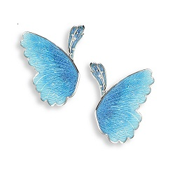 69062 - Blue enamel Butterfly stud Earrings