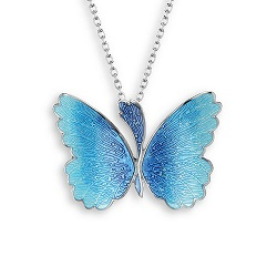 69063 - Blue enamel Butterfly pendant in Sterling Silver