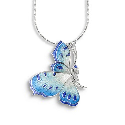 69066 - Sapphire set Butterfly pendant in Sterling Silver