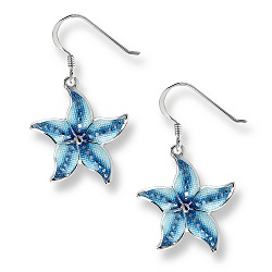 69071 - Blue enamel Starfish drop Earrings