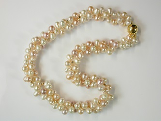 69099 - Naturally coloured Cultured Pearl Torsade with silver gilt clasp