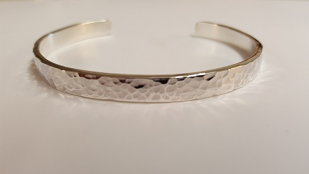 69100 - Handmade hammered Cuff Bangle in Sterling Silver