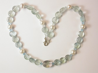 69109 - Fluorite, Apatite, Crystal & Pearl Necklace with silver clasp
