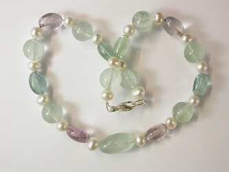69111 - Fluorite & Pearl Necklace with silver clasp