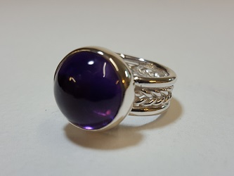 69117 - Handmade Amethyst Ring in Sterling Silver