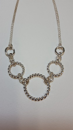 69124 - Handmade sterling silver twist hoop necklace