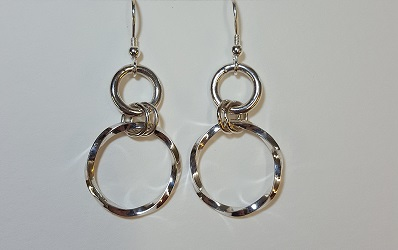 69130 - Handmade Sterling Silver Twisted Hoop drop earrings