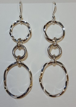 69131 - Handmade Sterling Silver Twisted Hoop drop earrings