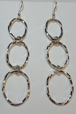 69132 - Handmade Sterling Silver Twisted Hoop drop earrings