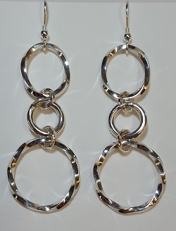69133 - Handmade Sterling Silver Twisted Hoop drop earrings