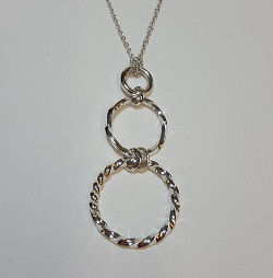 69135 - Handmade 'Twist' triple hoop pendant in Sterling Silver