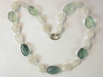 69146 - Rock crystal & Mint Fluorite necklace