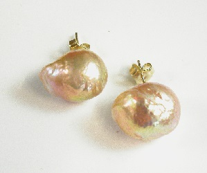 69150 - Baroque Cultured Pearl Stud Earrings in 9ct Gold