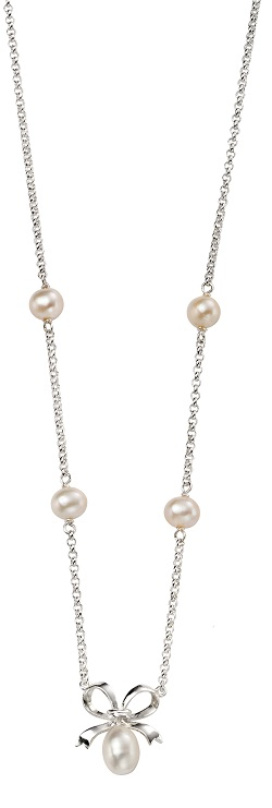 69169 - Pearl bow necklace in Sterling Silver