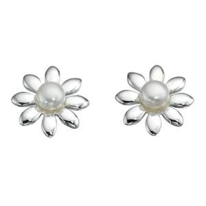 69171 - White Cultured Pearl Flower Stud Earrings