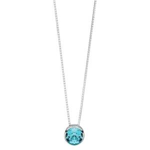 69175 - Aquamarine coloured Swarovski set slider pendant & chain in Sterling Silver