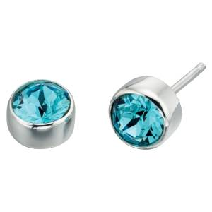 69176 - Aquamarine coloured crystal Stud Earrings in Sterling Silver