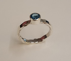 69198 - Hand forged Blue Topaz Ring in Sterling Silver