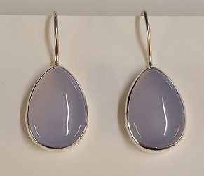 69201 - Handmade Silver Drop Earrings set with Chalcedony