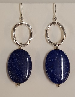 69203 - Handmade Silver Twist Drop Earrings set with Lapis Lazuli