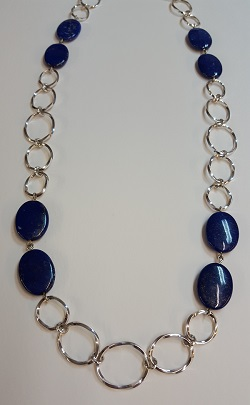 69204 - Handmade twist necklace set with Lapis Lazuli in Sterling Silver