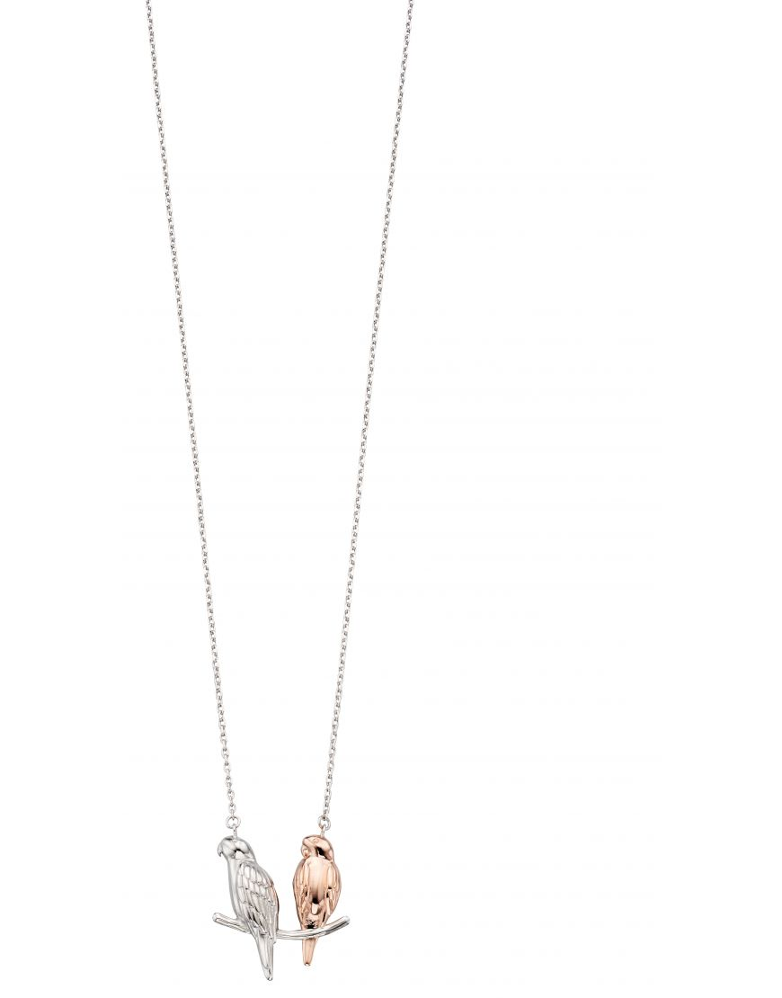 69321 - Sterling Silver & Rose Gold Plated Parakeet Necklace