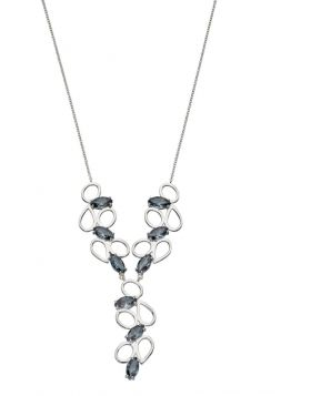 69327 - Silver Marquise Shapes Necklace set with Grey Colour Crystals