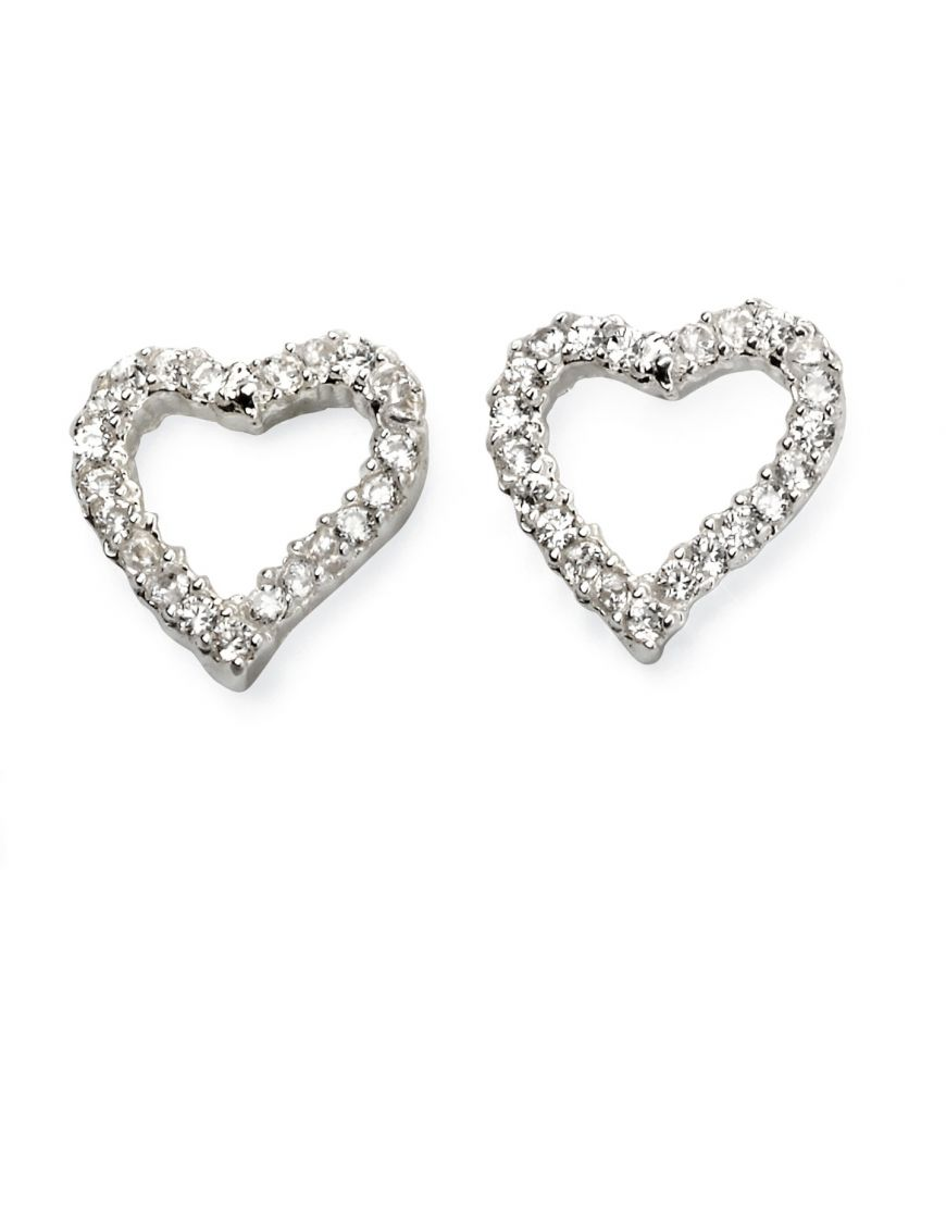 69328 - White coloured crystal Stud Earrings in Sterling Silver