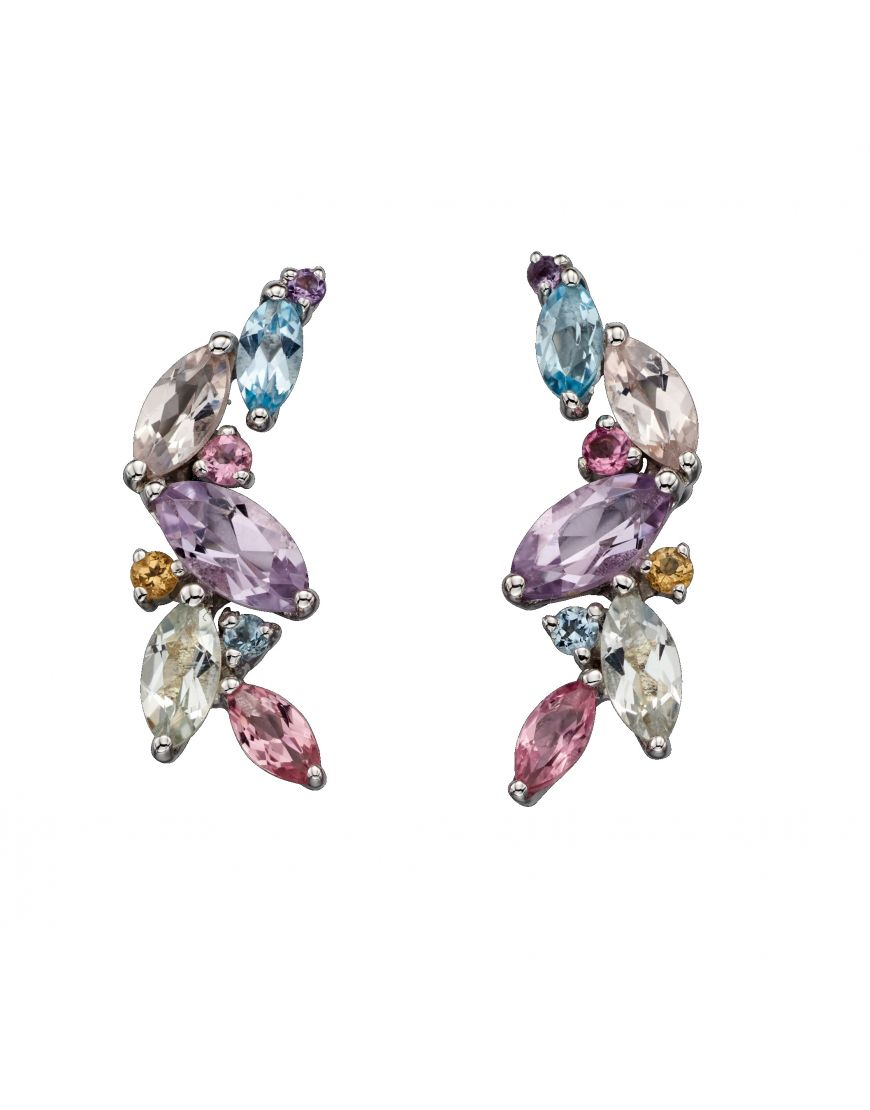 69331 - Multi-coloured Marquise shaped stone set Cluster Stud Earrings in 9ct Yellow Gold