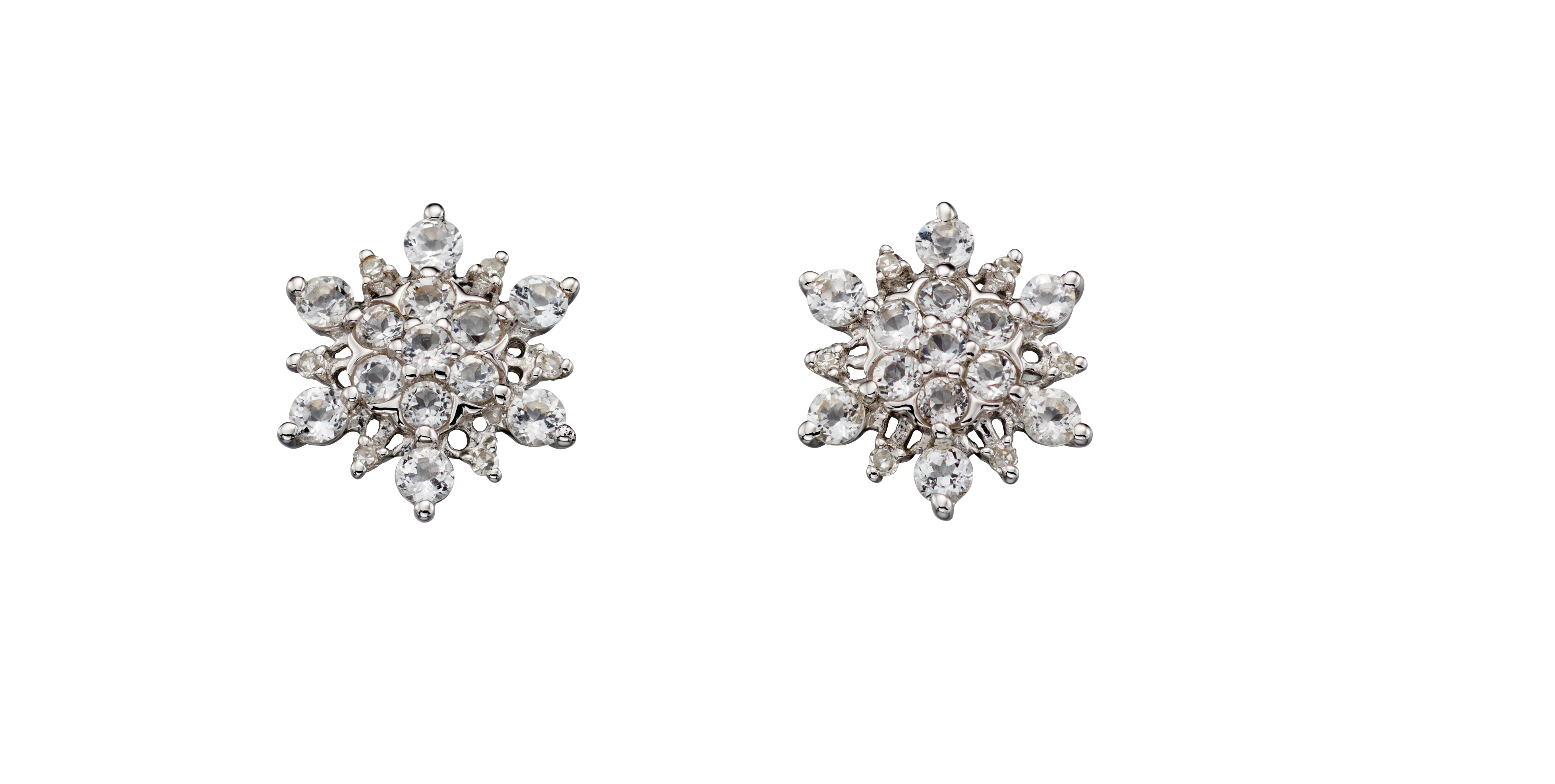 69332 - White Topaz Star shaped stone set Cluster Stud Earrings in 9ct White Gold