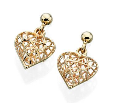 69334 - Caged Heart Drop Earrings in 9ct yellow gold