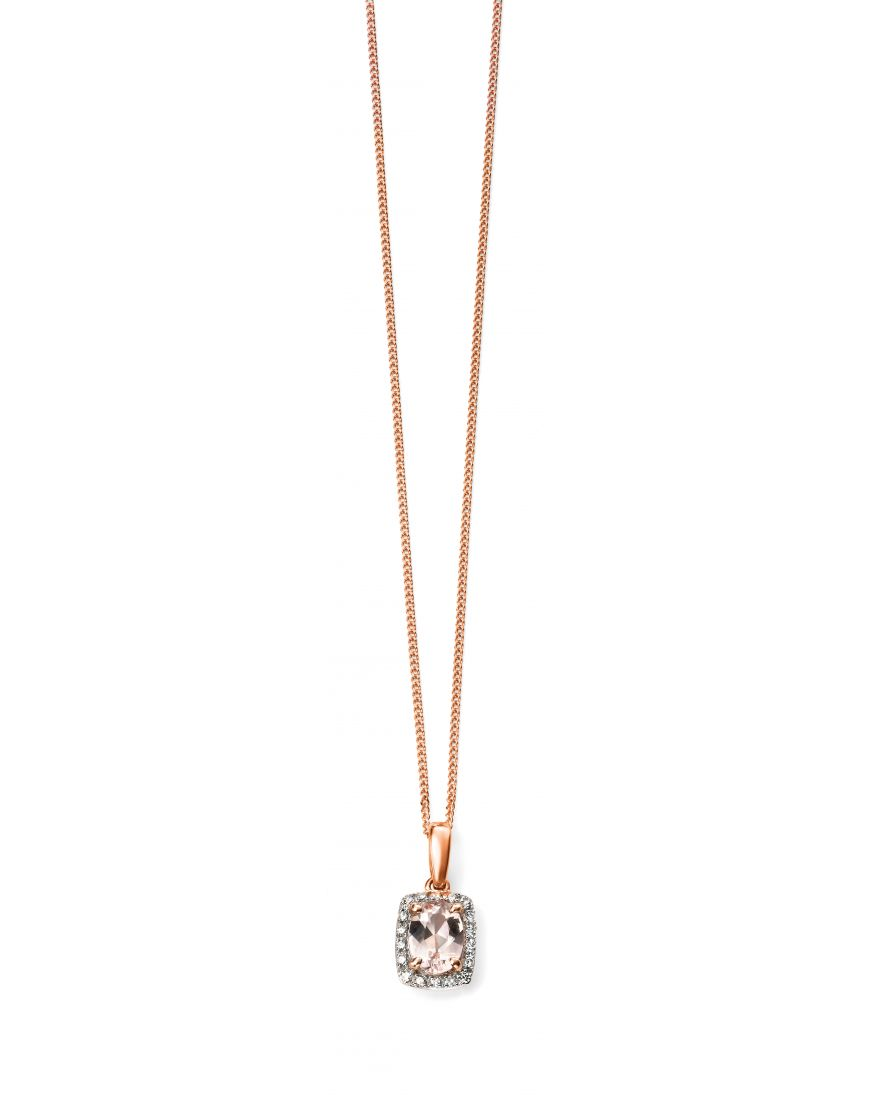 69354 - Morganite & Diamond Cluster Pendant in 9ct Rose Gold
