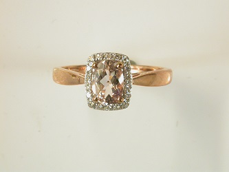 69358 - Morganite & Diamond Cluster ring in 9ct Red Gold
