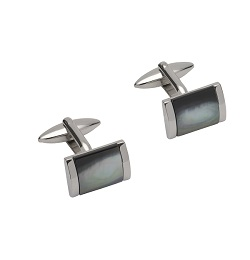 69540 - Stainless Steel cufflink with Black Mother of Pearl