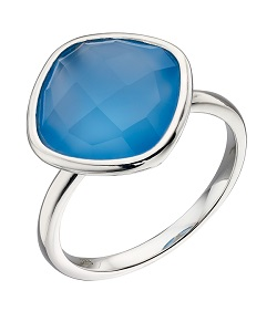 69549 - Blue chalcedony ring in Sterling Silver