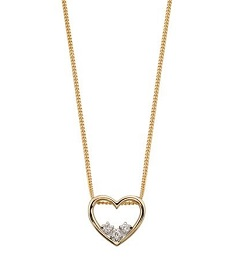 69556 - 9ct Yellow Gold Heart with Diamonds Necklace