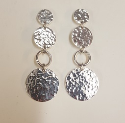 69583 - Handmade Sterling Silver hammered disc drop earrings