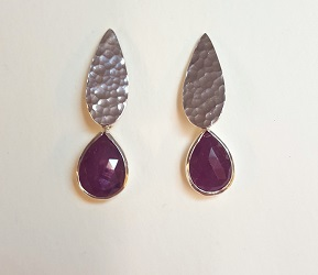 69584 - Handmade hammered Pear drop earrings on hook fittings set with Ruby
