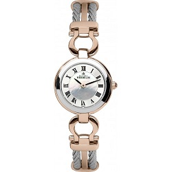 69613 - Michel Herbelin Small sized steel & rose gold plated Cable Watch