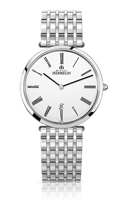69619 - Michel Herbelin Large sized Superslimline Stainless Steel Bracelet Watch