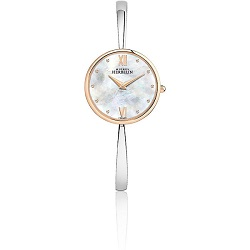 69634 - Michel Herbelin steel & rose gold plated Bangle Watch