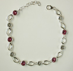 69369 - Pink & White Swarovski crystals set in silver as adjustable length bracelet