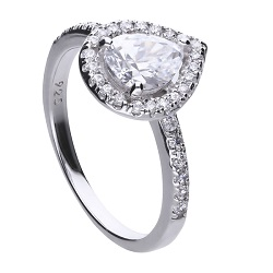 69642 - Diamonfire CZ Pear shaped Cluster Ring in Silver